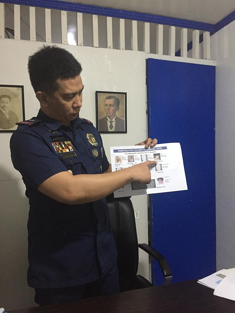 SAN SIMON. San Simon Chief of Police Chief Inspector Louie Gonzaga points at the crossed-out name of Francisco Bagtas, the town's top three most wanted personality, after he was arrested by police recently. (Princess Clea Arcellaz)