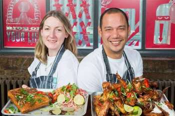 LONDON. Sinead Campbell and Lee Johnson are on the mission to share the joy of devouring Filipino food. (Photo by Matt Writtle/Evening Standard/via Philippine Embassy in London)