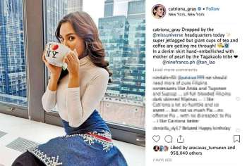 NEW YORK. 2018 Miss Universe Catriona Gray's Instagram post on January 5, 2019. (Catriona Gray's Instagram account)