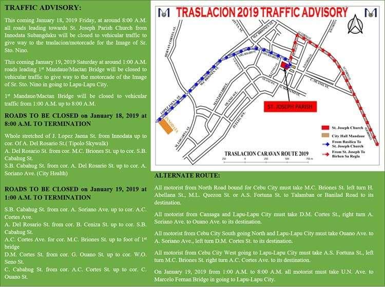 Traslacion 2019 traffic advisory