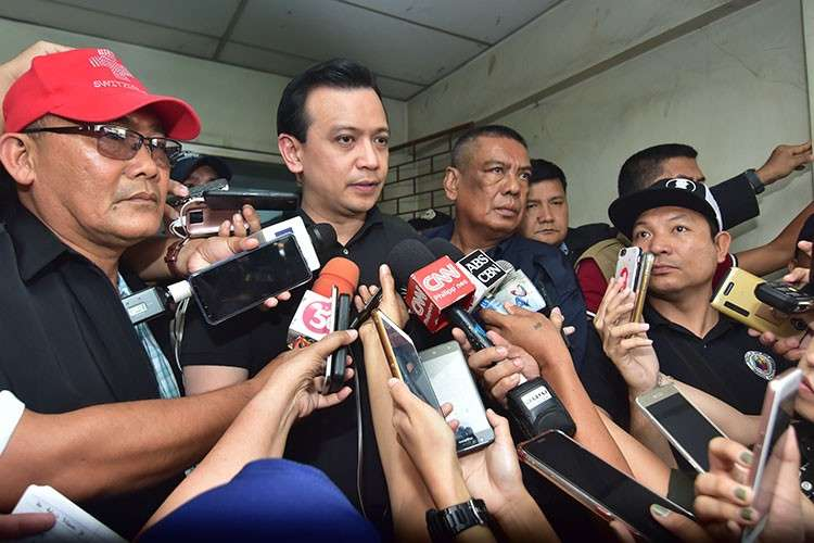 DAVAO. Senator Antonio Trillanes IV pleaded not guilty to four counts of libel during his hearing at the Regional Trial Court 11 Branch 54 in Davao City. (Macky Lim)