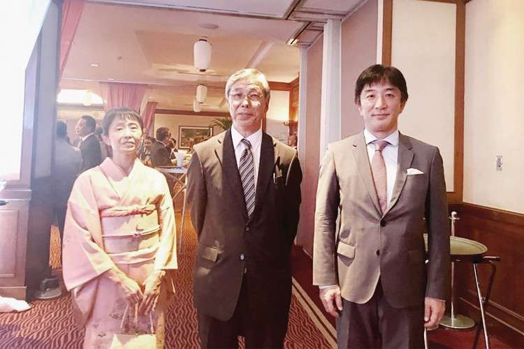 Japan Embassy Reception. At the reception line at Marco Polo Plaza Cebu were Counsellor and Mrs. Chiharu Tsuruola and Minister Takehiro Kano, deputy chief of mission of the Japanese Embassy. Right photo shows Cebu Vice Gov. Agnes Magpale during her brief remarks.