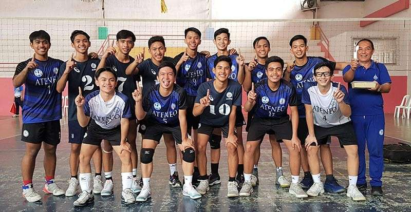 DAVAO. Members of the Davao City boys volleyball team flash the number one sign after winning the Davao Regional Catholic Educational Association of the Philippines (Ceap) volleyball tournament title at University of the Immaculate Conception (UIC) Bajada campus recently. (D'Artagnan Yambao)