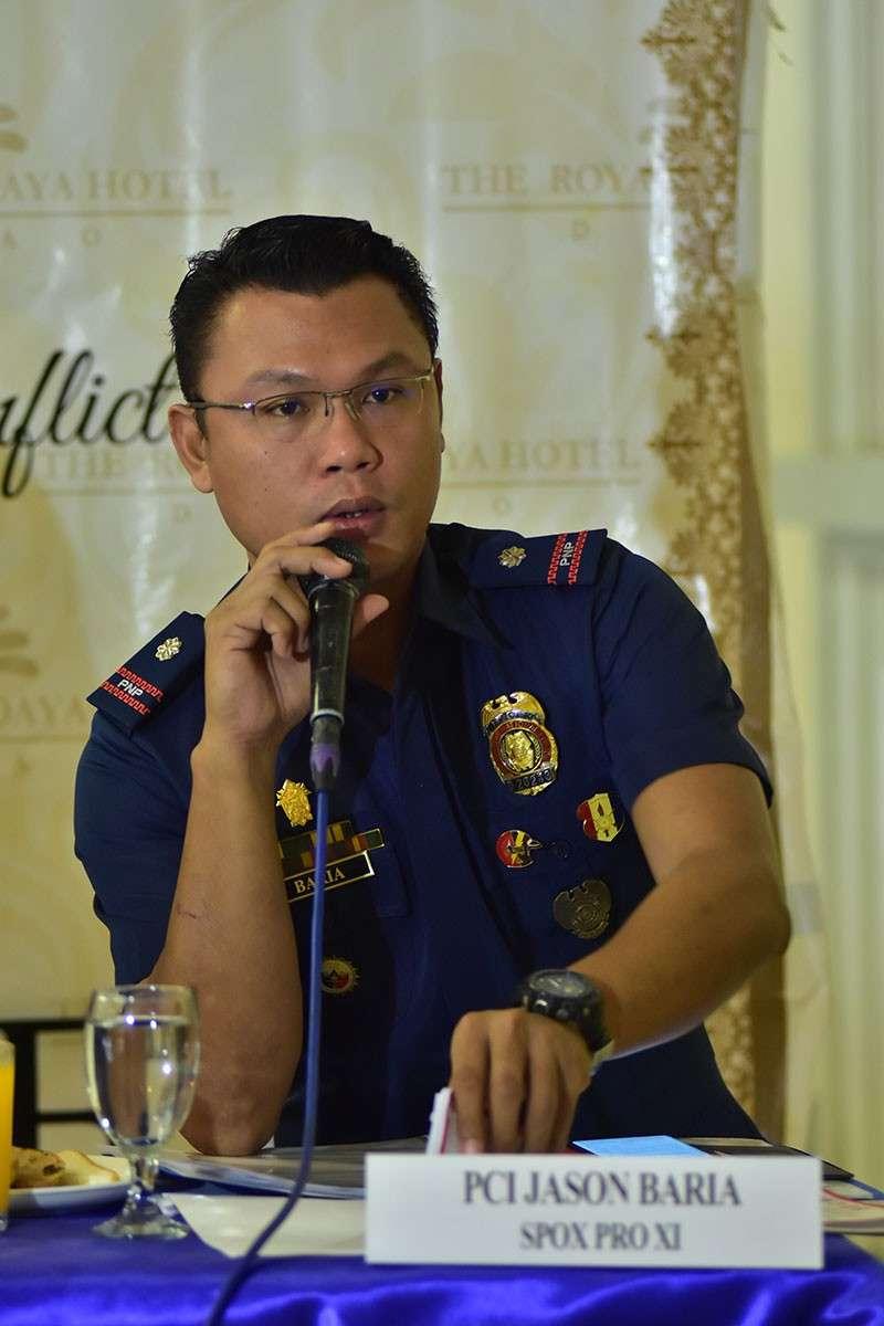 Police Chief Inspector Jason, spokesperson of Police Regional Office (PRO)-Davao Region (Photo by Macky Lim)