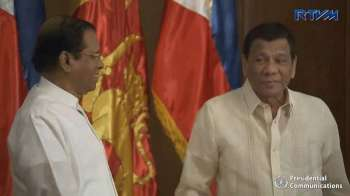 MANILA. President Rodrigo Duterte and Democratic Socialist Republic of Sri Lanka President Maithripala Sirisena, together with their respective delegations, convene for an expanded bilateral meeting at the Aguinaldo State Dining Room in Malacañan Palace on January 16, 2019. (Photo from RTVM video)
