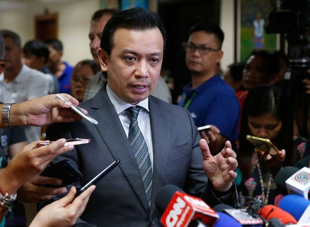 MANILA. In this file photo, opposition Senator Antonio Trillanes IV is interviewed after the Makati Regional Trial Court Branch 150 issued a warrant for his arrest on September 25, 2018. (AP)