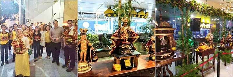 """SINULOG AT GOLDEN PRINCE. """"Bato Balani sa Gugma: Exhibit of Sto. Niño images"""" was an event spearheaded by Benny and Aaron Que with guest heritage ambassadress Louella Aliz. The event featured the Sinulog ritual dances and native cuisines."""