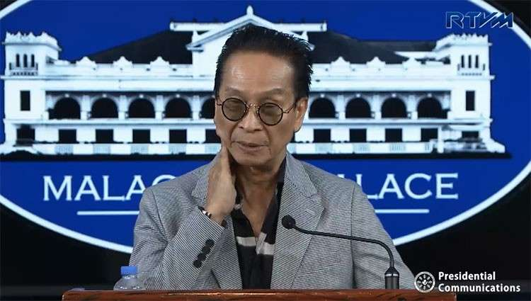 MANILA. Presidential spokesperson Salvador Panelo in a press briefing in Malacañang Tuesday, January 22, 2019. (Screenshot from Presidential Communications video)