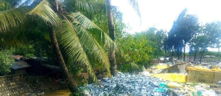Ang nagkayamukat nga basura kilid sa sapa gisugdan na og hipos. (Fe Marie Dumaboc)