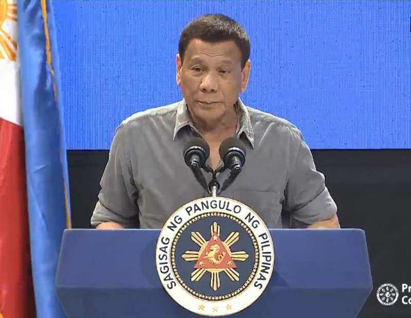 QUEZON. President Rodrigo Duterte on January 22, 2019 lamented that children are being used in the illegal drugs trade. (Photo grabbed from RTVM video)