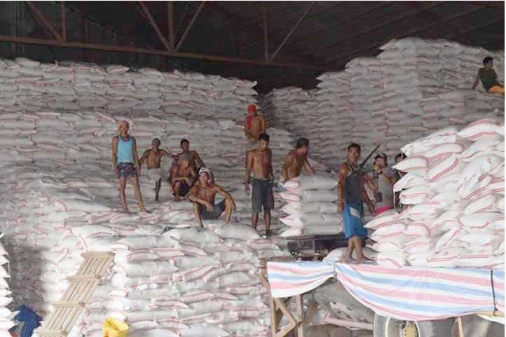 BACOLOD. Some of the unloaded imported rice at a warehouse in Bacolod City which forms part of the total of about 250,000 bags of buffer stocks for Negros Occidental. (National Food Authority- Negros Occidental)