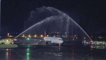 A water cannon salute ceremony for Juneyao Airlines inaugural flight Cebu-Shanghai in November 2017. (File foto by GMCAC)