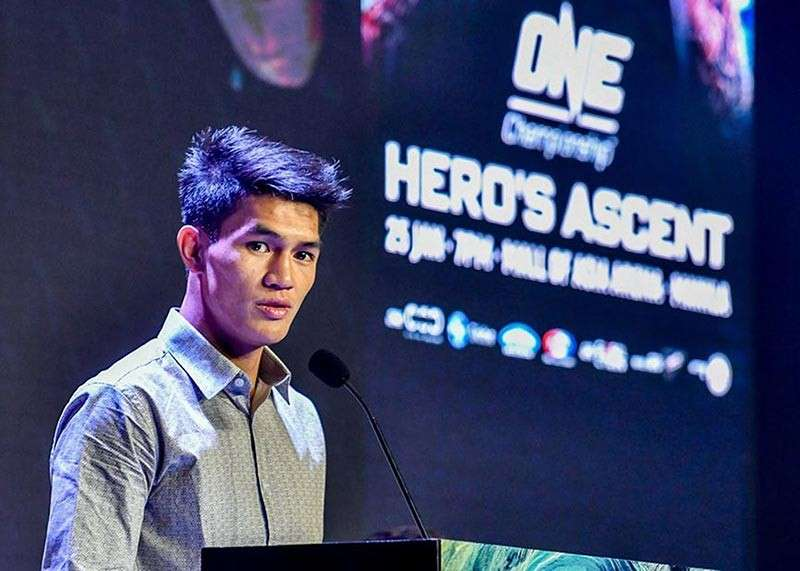 "BAGUIO. Danny Kingad expresses his thoughts on his upcoming bout against Tatsumitsu Wada during the ""Heroes Ascent"" press briefing. (Photo by ONE Championship)"