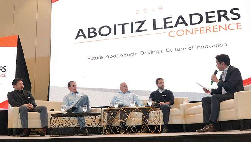 MANILA. (From left): UnionBank chief technology & operations officer Henry R. Aguda, Aboitiz Equity Ventures, Inc. (AEV) executive vice president and chief operating officer (COO) Sabin M. Aboitiz, AEV president and chief executive officer Erramon I. Aboitiz, and Pilmico COO Tristan R. Aboitiz answer questions from Aboitiz Leaders Conference panel moderator, ANC anchor Quintin Pastrana. (Contributed Photo)