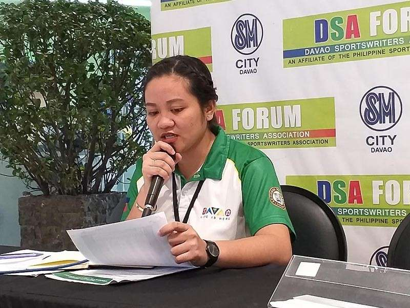 Irish Mae Aberilla of the Sports Development Division of the City Mayor's Office (SDD-CMO) bares the composition of Davao City's 383-member delegation to the Batang Pinoy 2019 Mindanao Leg during Thursday's Davao Sportswriters Association (DSA) Forum at The Annex of SM City Davao. (Photo by Marianne L. Saberon Abalayan)