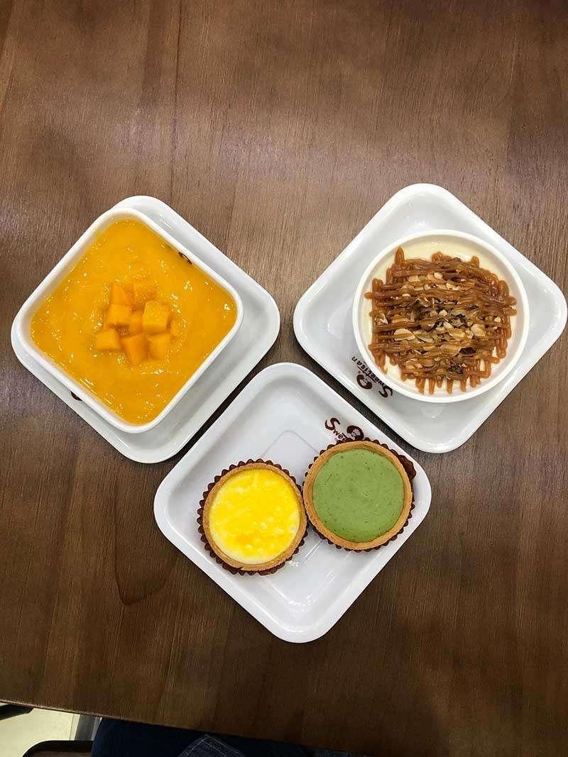 DAVAO. Mango Sago, Milk Custard with Almond, Caramel, and Walnut Toppings, Cheesetart, and Matcha Cheesetart. (Reuel John F. Lumawag)