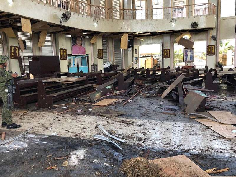 JOLO. Church pews were destroyed after a bomb went off inside a cathedral in Jolo, Sulu on Sunday, January 27, 2019. (Western Mindanao Command Photo)