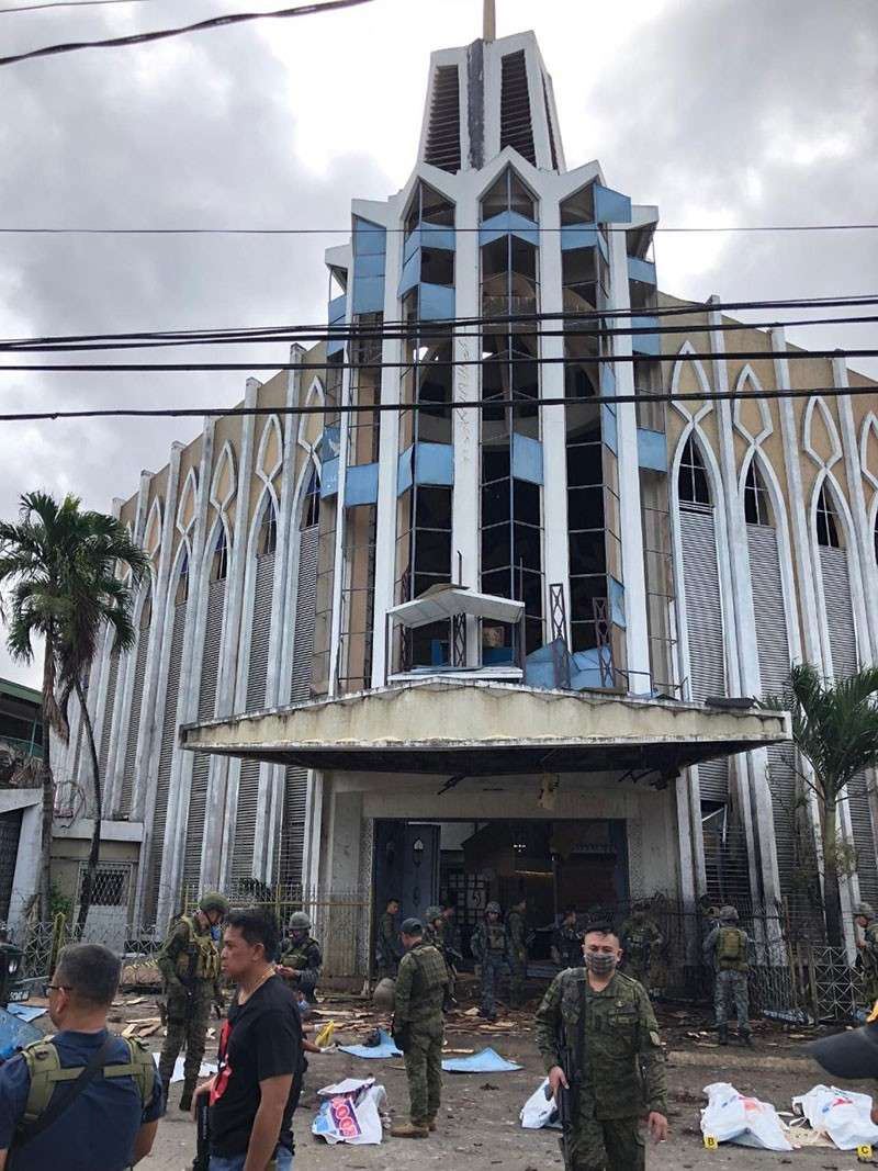 JOLO. Two improvised explosive devices (IED) went off at the Cathedral of Our Lady of Mount Carmel in Jolo, Sulu on January 27, 2019. (Western Mindanao Command Photo)