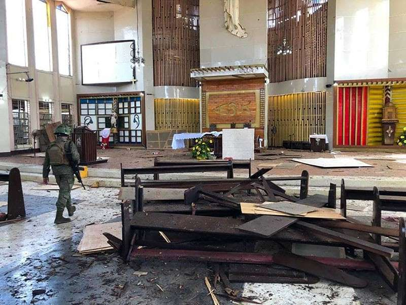 JOLO. The scene after the bombing inside the Cathedral of Our Lady of Mount Carmel in Jolo, Sulu on January 27, 2019. (Photo from cbcpnews.,net)