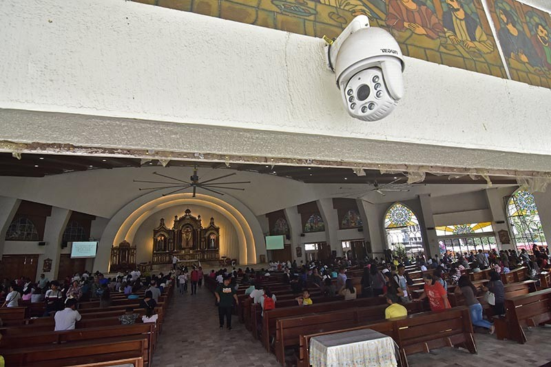 DAVAO. A closed-circuit television (CCTV) monitors round-the-clock the facade of San Pedro Cathedral. Other CCTVs are also installed inside the church to closely monitor the premises and ensure security of the church. (Photo by Macky Lim)