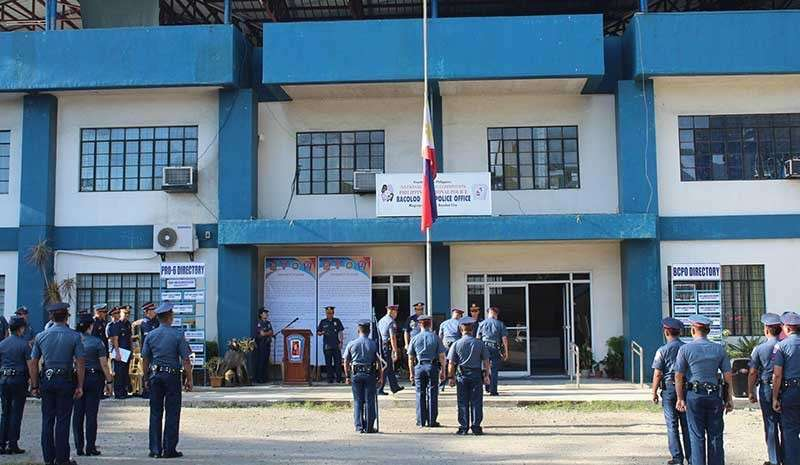 BACOLOD. The Philippine flag at the Bacolod City Police Office headquarters flies at half-mast following the death of Senior Police Officer 4 Oscar Exaltado, deputy chief of Police Station 6, in Barangay Singcang-Airport on Friday, January 25. (Bacolod City Police Office)