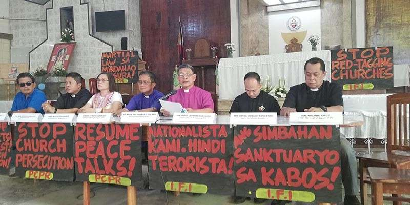CAGAYAN DE ORO. IFI Bishop Felixberto Calang reads a statement denouncing the continued vilification of the church and its clergy in a press conference Tuesday, January 29, at the IFI cathedral. (Photo by PJ Orias)