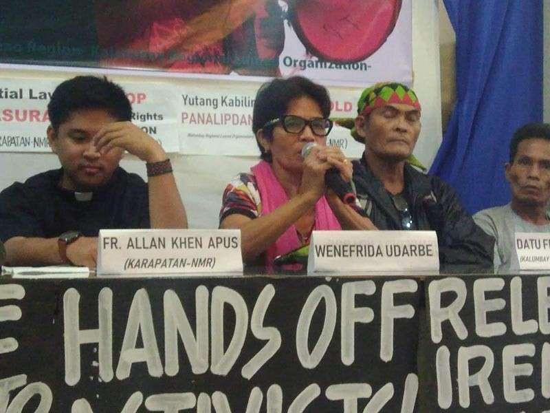 CAGAYAN DE ORO. Progressive groups led by Kalumbay Regional Lumad Organization, Karapatan and Kilusang Magbubukid ng Pilipinas call for the release of Kalumbay chairman Datu Jomorito Goaynon and KMP Northern Mindanao chair Ireneo Udarbe. (Photo by Alwen Saliring)