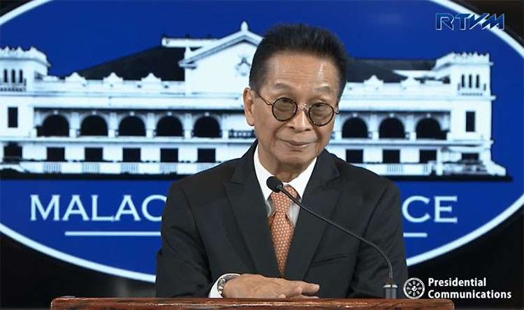 MANILA. Presidential spokesperson Salvador Panelo in a press briefing in Malacañang on Thursday, January 31, 2019. (Screenshot from RTVM video)