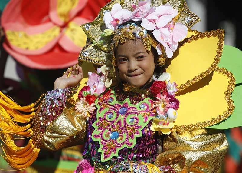 BAGUIO. A contingent during the Panagbenga 2019 Street Dancing and Drum and Lyre Competition Elementary level. (Photo by Jean Nicole Cortes)