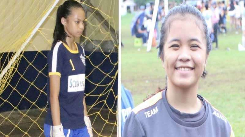 CAGAYAN DE ORO. Cagayan de Oro's Futsal team is in good hands with youth but very good keeper Chavonne Joelle T. Uy of St. Mary's School in brgy. Macasandig and Ellaliene Micabalo of Lumbia National High School taking turns in manning the goal. (Supplied Photos)