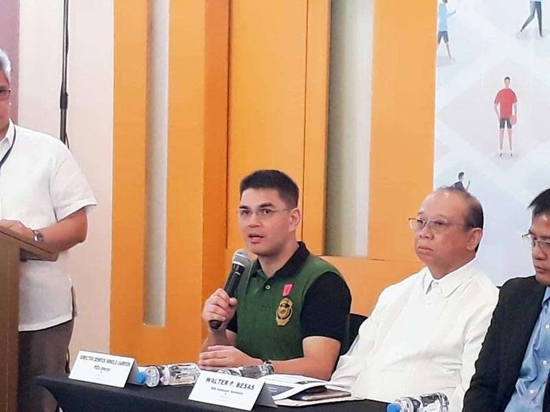 Philippine Drug Enforcement Agency (PDEA) deputy director Derrick Arnold Carreon during a press conference at Marco Polo-Davao. (Juliet C. Revita)