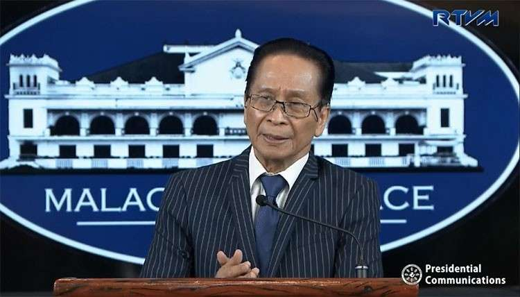 MANILA. Presidential Spokesperson Salvador Panelo in a press briefing in Malacañang. (Screenshot from RTVM video)