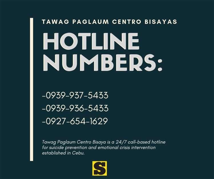 Ang Tawag Paglaum Centro Bisaya usa ka 24/7 call-based hotline para sa suicide prevention ug emotional crisis intervention nga gitukod sa Cebu.