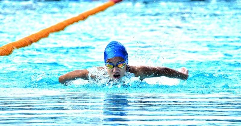 TAGUM CITY. Liaa Margarette Amoguis of Davao City races to snatch the gold in girls 12-under 200-meter individual medley (IM) event, the first of the two events she ruled in the Batang Pinoy 2019 Mindanao Qualifying Leg swimming competition at the Davao del Norte Sports and Tourism Complex in Tagum City Wednesday, February 6. (Macky Lim)