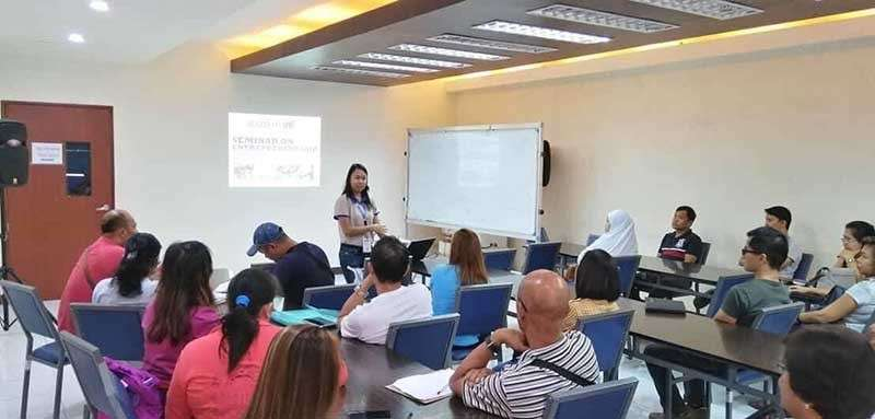 BACOLOD. Thirty-two OFWs in Negros Occidental attend the entrepreneurship and business planning seminar at the Negros First Negosyo Center in Bacolod City on Wednesday, February 6. (Contributed photo)