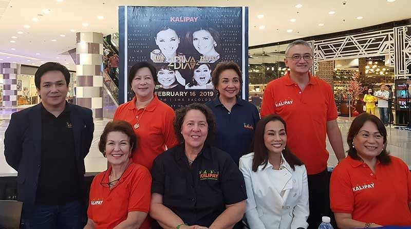 BACOLOD. Pop diva Kuh Ledesma (seated, 2nd from right) with Kalipay Foundation officials led by its founder and president, Anna Balcells, with Mhel Sillador, Ginnette Yanson Dumancas, Gigi Campos, John Gayoso, Cristina Montenegro, and Ana Macasa-Sanson during the press conference held on Wednesday, February 6, at the SM City atrium. (Carla Cañet)