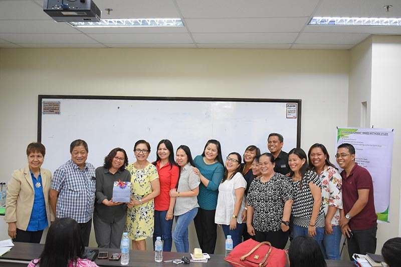 DAVAO. From left: Dr. Gloria Gempes, Dean Eugenio S. Guhao, Jr., D.M., Dr. Gina Fe Israel, Dr. Eufrosina Mines, Dr. Tessie Miralles, Dr. Elleine Rose Oliva, assistant vice president for Human Resource Development Michelle Acledan, Dean Jocelyn Bacasmot, Dr. Rieta Palma, Professor Amelia Peligro, Dr. Viola Buenaventura, Professor Samuel Anay, Dr. Lorna General, Dr. Rhonadora Deala, and Professor Joel Tan. Their team beats other teams in the recent workshop. (Photo courtesy of Professional Schools)