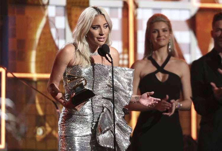 USA. Lady Gaga accept the award for best pop duo or group performance for