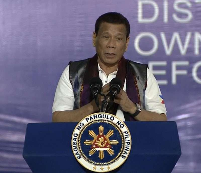 MAGUINDANAO. President Rodrigo Duterte speaks after the ceremonial distribution of 834 Certificates of Land Ownership Award (CLOA) to 780 Agrarian Reform Beneficiaries (ARBs) at the Buluan Municipal Gymnasium in Maguindanao on February 11, 2019. (Presidential Communications Photo)