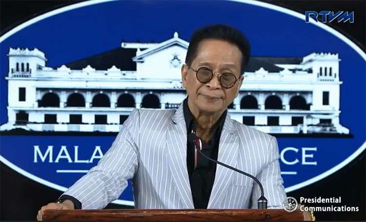 MANILA. Presidential Spokesperson Salvador Panelo in a press briefing in Malacañang Tuesday, February 12, 2019. (Screenshot from RTVM video)