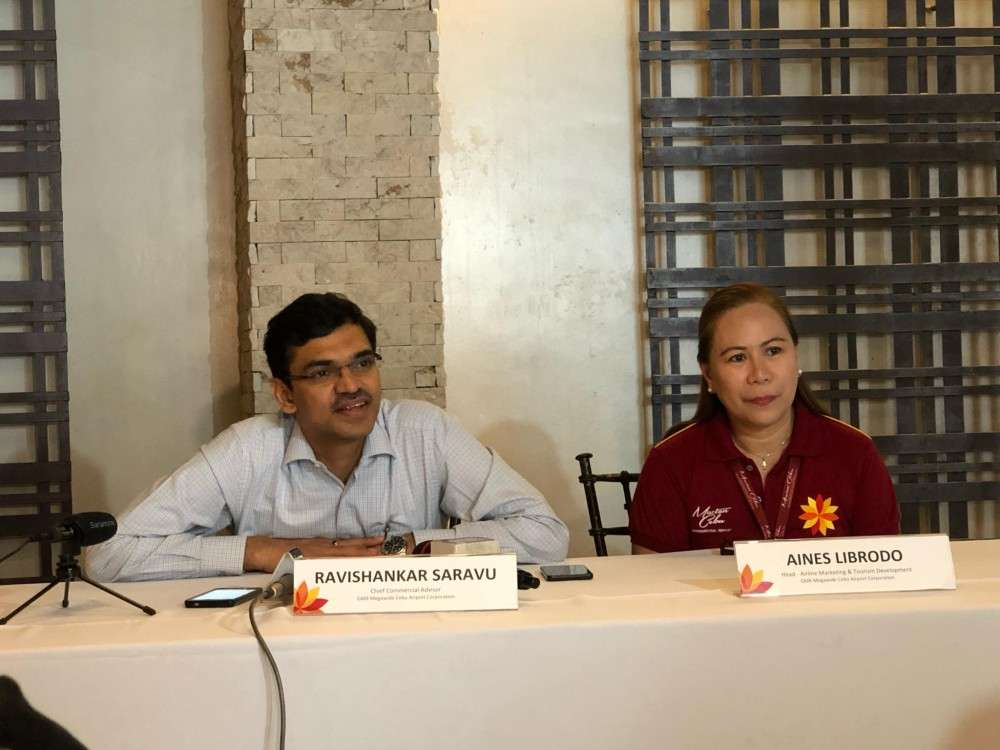 BACOLOD. Ravishankar Saravu (left), chief commercial advisor of GMR Megawide Cebu Airport Corporation (GMCAC); and Aines Librodo, GMCAC head for Airline Marketing and Tourism Development, in a press conference at L' Fisher Hotel in Bacolod City Tuesday, February 12, 2019. (Glazyl Masculino)