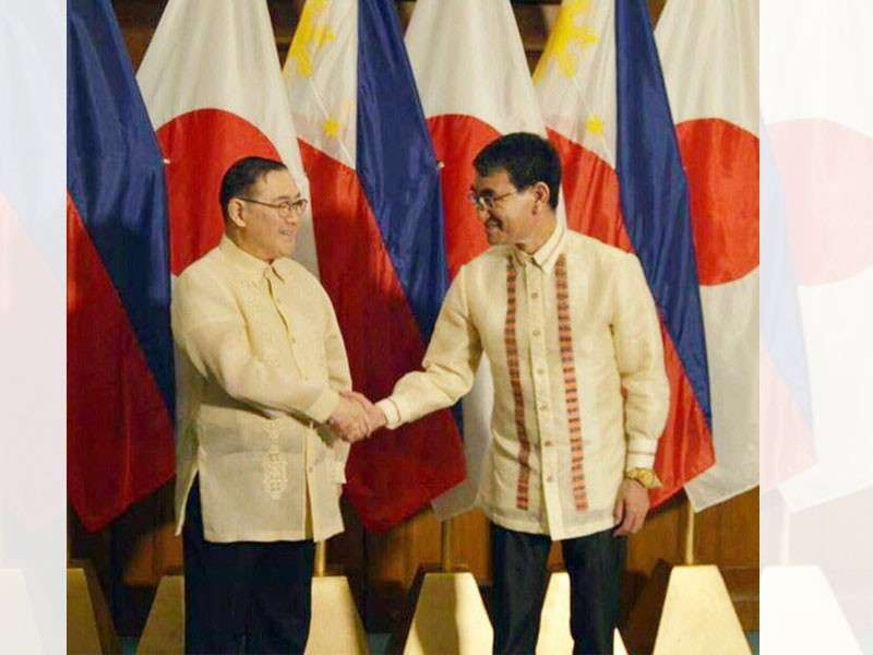 DAVAO. Foreign Affairs secretary Teodoro Locsin Jr. and Japanese Foreign Minister Taro Kono conclude their bilateral meeting last Sunday, February 10, in Davao City with a handshake. They discussed areas of mutual interest, including political, economic, and people-to-people engagement. (DFA Photo)