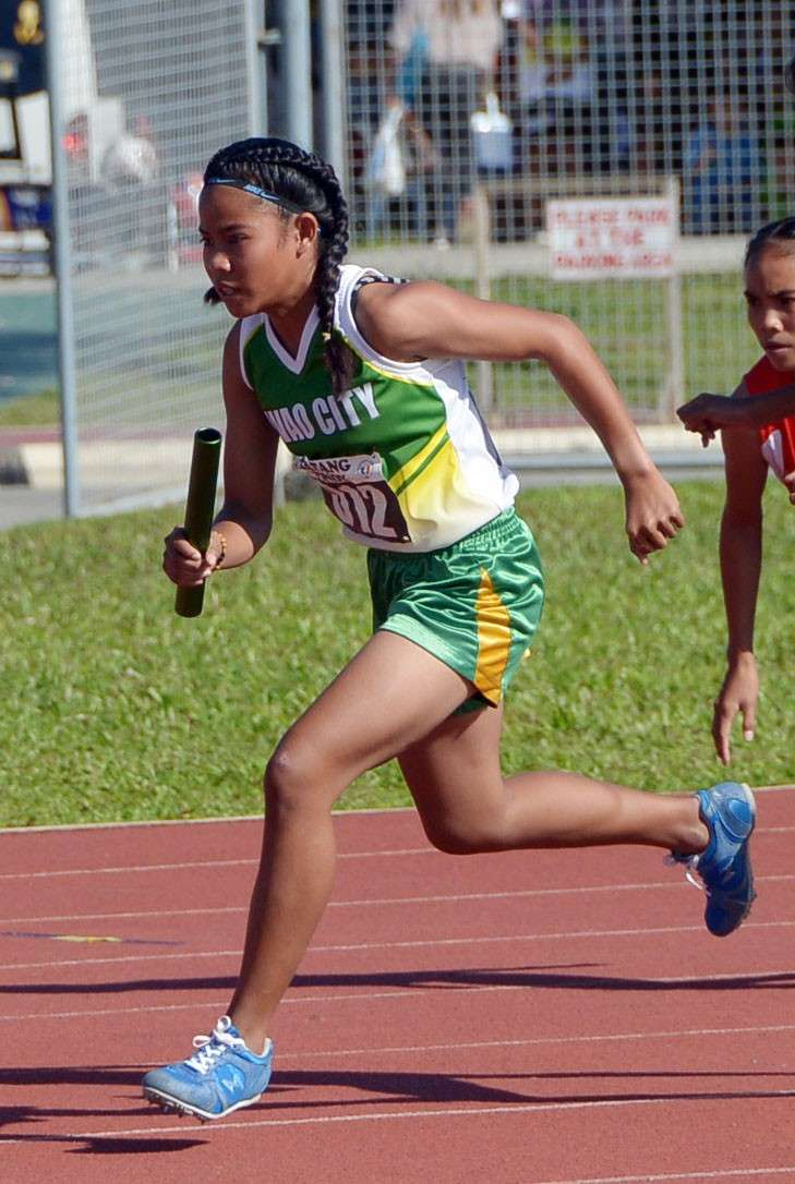 TAGUM CITY. Bea Burbe anchors Davao City's girls 4X400-meter relay team to a gold medal finish in the Batang Pinoy 2019 Mindanao Qualifying Leg at the Davao del Norte Sports and Tourism Complex in Tagum City, Davao del Norte. (DSA)
