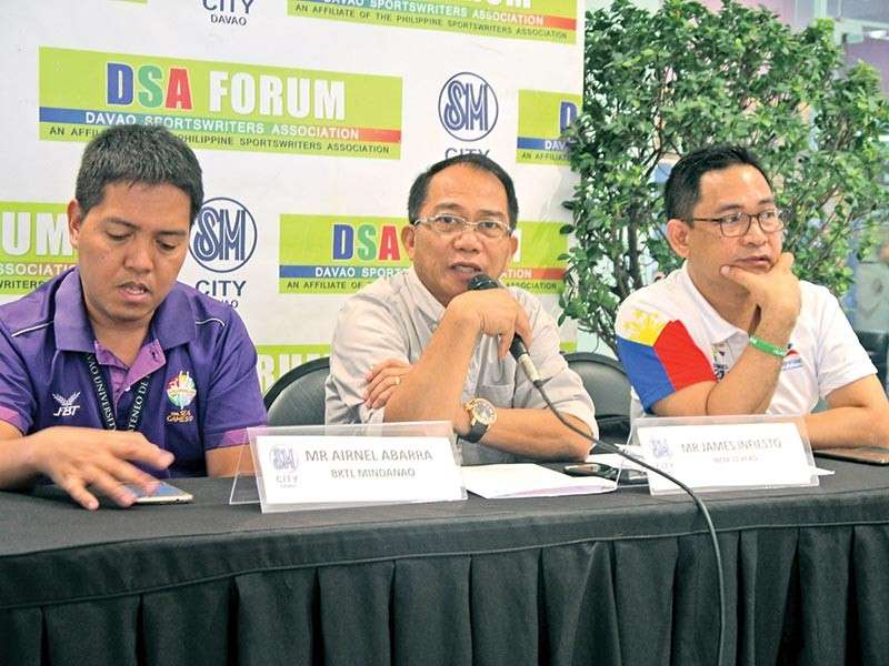 DAVAO. From left, Airnel Abarra of Blue Knights Track League, M'lang Vice Mayor Joselito Piñol and National Chess Federation of the Philippines (NCFP) regional director James Infiesto are guests during Thursday's Davao Sportswriters Association (DSA) Forum at The Annex of SM City Davao. (Seth delos Reyes/DSA)