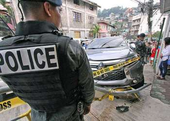 In this file photo, operatives of the Drug Enforcement Unit (DEU) of the Baguio City Police Office conducted a drug bust that resulted in a shootout and the arrest of four suspects in Lower Quarry barangay, May 28, 2018. (Milo Brioso)