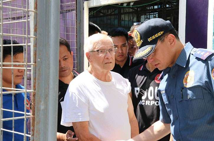 MANILA. Fr. Kenneth Pius Hendricks was arrested by personnel of the National Capital Region Police Office on Tuesday, February 19, 2019. (Photo courtesy of NCRPO)