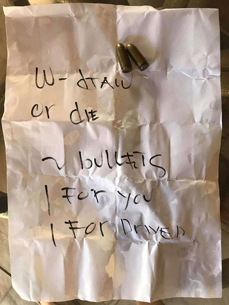 CEBU. Two bullets were wrapped inside this note and was left at the back of the pick-up truck of congressional candidate Geraldine Gaye Yapha. (Photo from Councilor Ramir Salonoy's Facebook page)