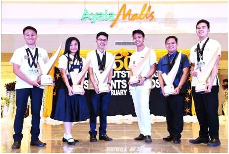 The Outstanding Students awardees (high school). Angeline Marie Braganza of St. Scholastica's Academy-Bacolod, John Carlo Cababan of St. Scholastica's Academy-Bacolod, and Jude Lourence Segovia of La Consolacion College-Bacolod (Photo by Isquare Photography)