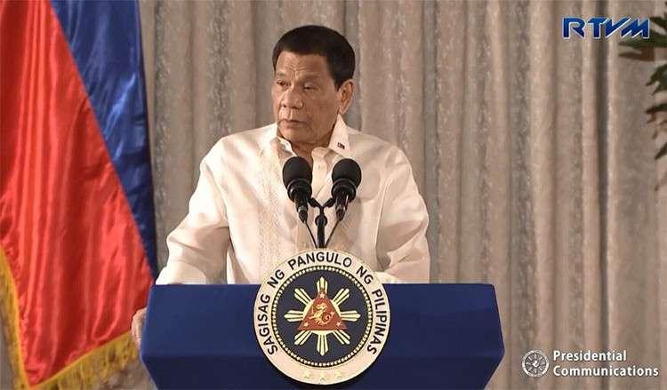 MANILA. President Rodrigo Duterte delivers a speech at the Palace's Rizal Hall Wednesday, February 20, 2019. (Screenshot from RTVM video)