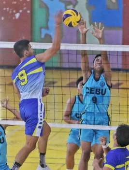 JUST ONE MORE. Cebu Province is one win away from winning the gold medal in boys' volleyball. (SunStar photo / Alex Badayos)